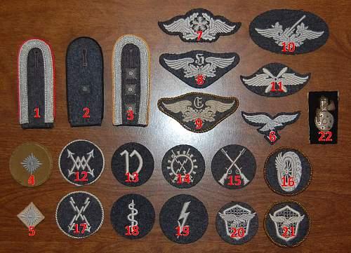 Please help identify Luftwaffe specialist patches!