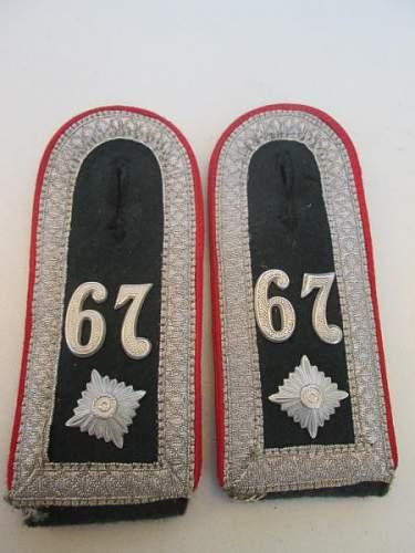 Shoulder Straps NCO Artillerie 67 Regiment