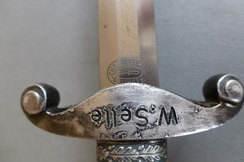 Early personalized Heer dagger by Christianswerk with Klaas fittings and Slant grip