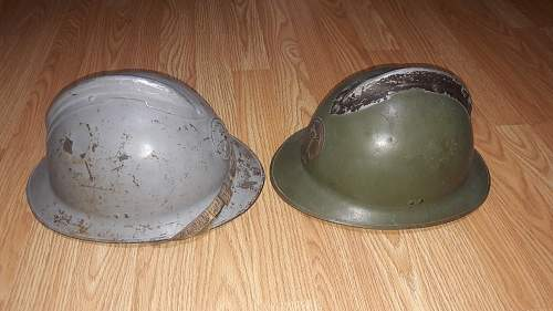 Two Mexican Adrian Helmets M26 from Mexico