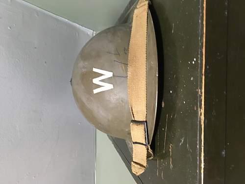 WW2 British Brodie Helmet With Civil Defense Messanger Decal/Warden Decal