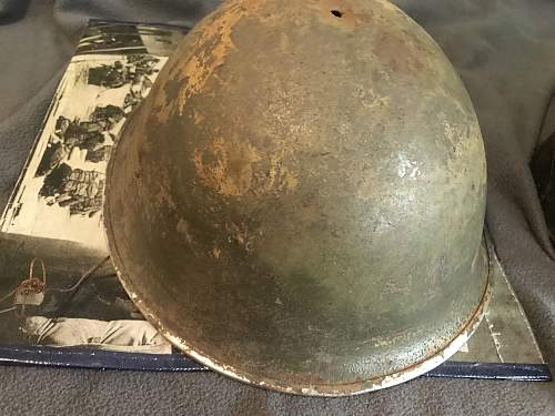 Original WW2 MK3 helmet and 1944 dated dipatchet riders helmet with unknown camo?
