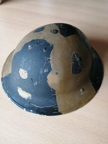 WW2 British Army Mk2 Helmet, Original Camo Paint?