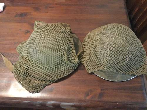 Australian WW2 netted helmets