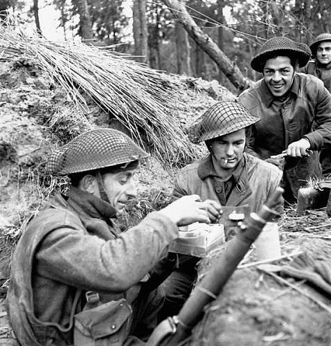 British helmet camouflage netting and field dressings.