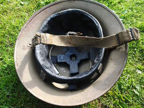 Unusual WW2 mkII tommy helmet with rolled edge
