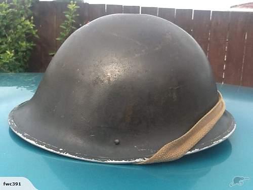WW2 MkIV BRITISH TURTLE HELMET 1945 DATED