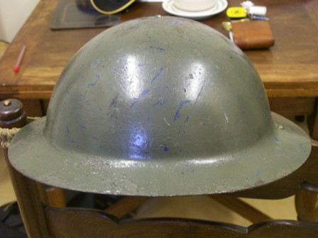 British helmet - raw edged but dated 1941