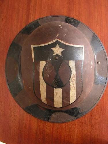 Combination Helmet Display WWI Doughboy & Captured German