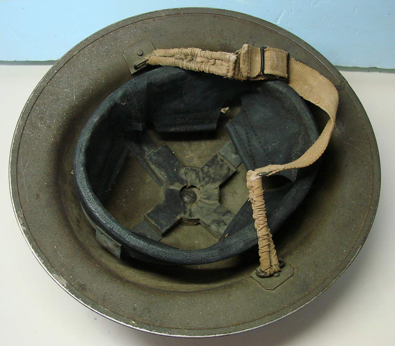 50e49a26cea WWII British or Canadian helmet  ----Help requested. Photos attached.