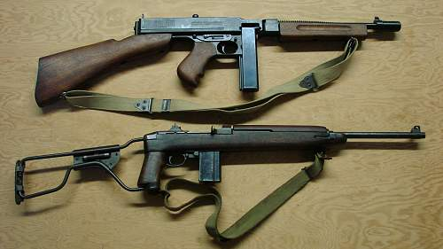Click image for larger version.  Name:Thompson M1928A1 and M1A1 carbine..jpg Views:5594 Size:160.3 KB ID:68242