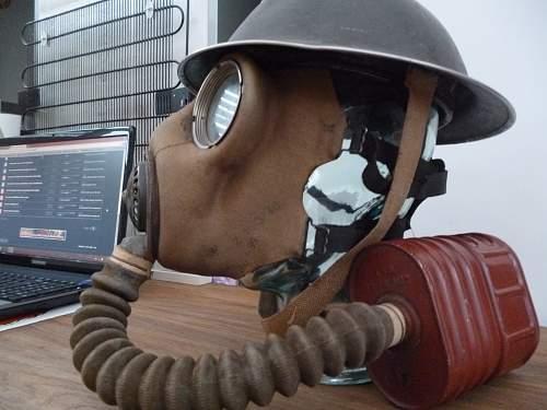 Mid war Army MK2 Helmet and General Service Respirator 1V.