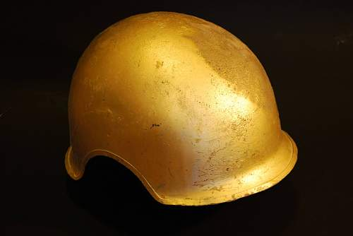 Gold painted no flaps named M3 Flak helmet price?