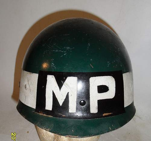 Canadian first pattern fiber Dispatch Rider helmet flashed to the Military Police