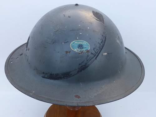 Factory air raid wardens helmet?