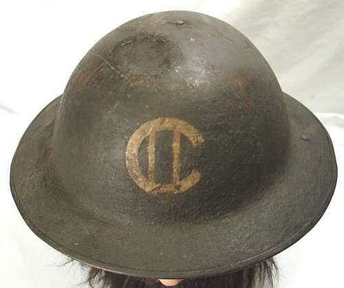 Canadian or British WW1(?) MK1 (?) Painted Helmet Marking ID?