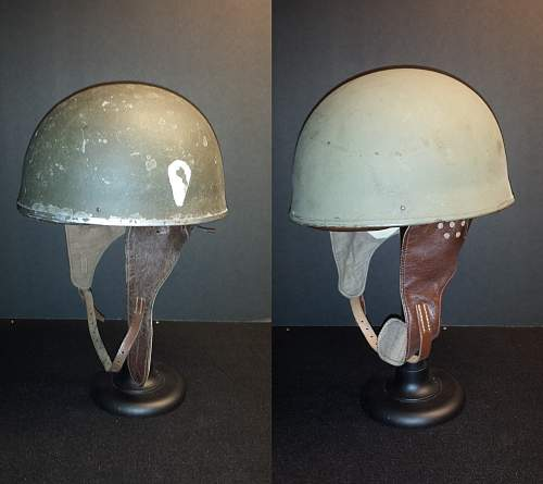 Ques Collection -- 1942 (Rt) and 1944 (Lft with Teardrop shape) British Motorcycle Dispatch Helmets