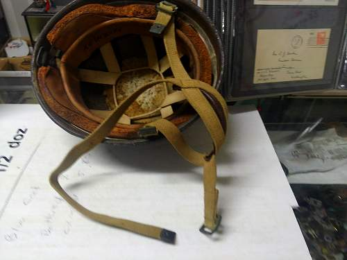 WWII marked fibre rim para helmet