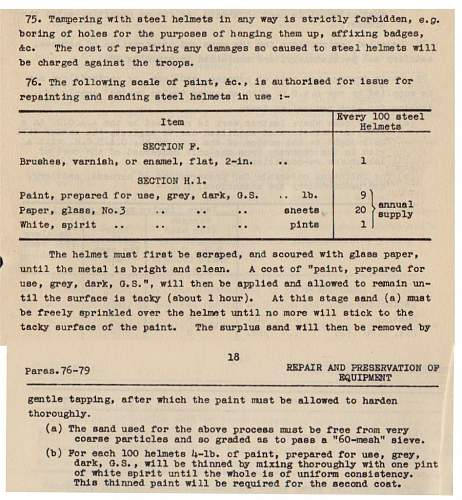 Repainting Aussie helmets: Instructions from 1940.