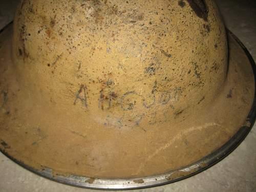 Original Rat Of Tobruk Holed Aussie English Helmet. 2/48TH Battalion