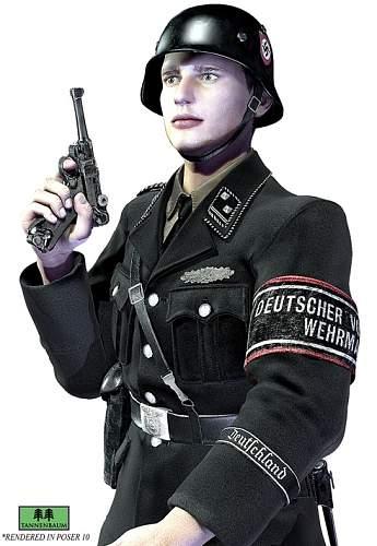 SS men in BLACK uniforms