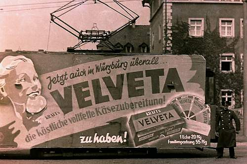 Advertisement. Photos of German soldiers with advertising signs.