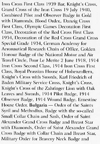 Complete list of the Awards/Decorations of Hermann W. Goering