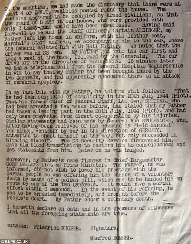 Letter about Rommels death