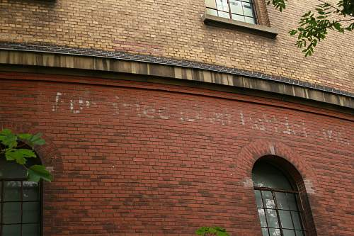 War time motto on the wall of the panometer- Leipzig?