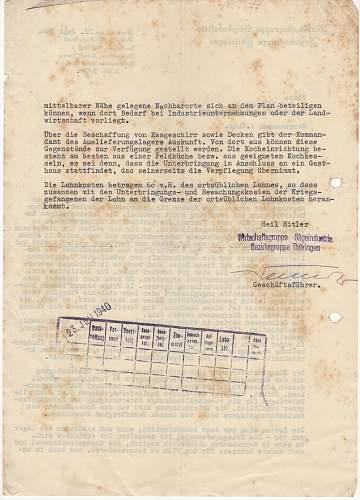 Translation of prisoners of war forced labour letter...