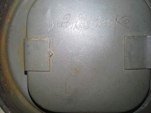Need help with name on gas mask canister - R. Radecke