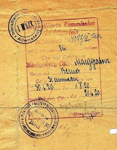 Click image for larger version.  Name:1920 Allenstein Königsberg ID - ALLIED VISA.jpg Views:18 Size:224.5 KB ID:902101