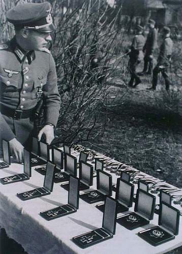 Ceremonial table of medals.
