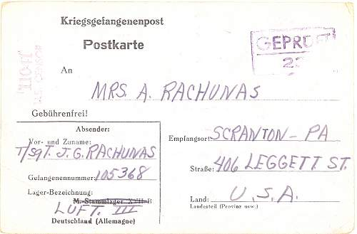 Post cards home from Stalag 17B
