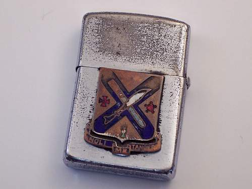 WWII Named Zippo Lighter W/ Unit Insignia