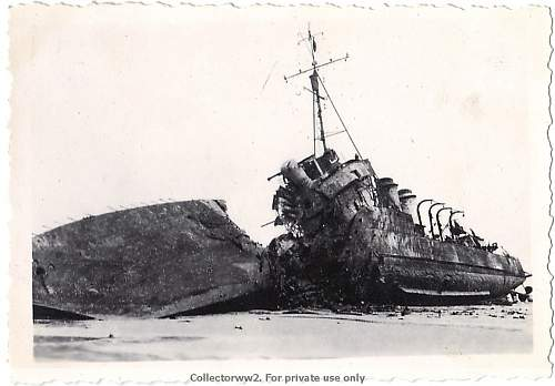 Dunkirk. Destroyed ship picture