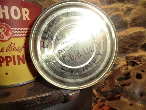 Australian Red Cross Society food parcel tins