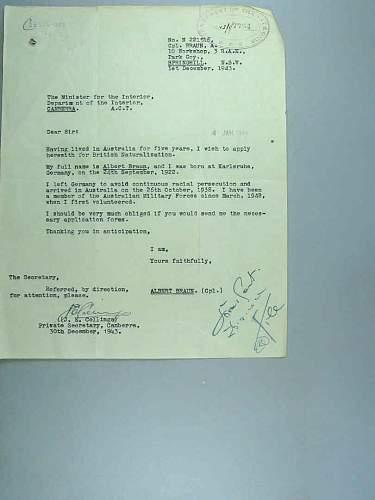 """BRAUN"" ALBERT BERTHOLD Of the Australian Army WW2 . Born Germany"