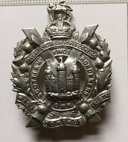 Great grandfather Joseph Nicol Bell (KOSB) WW1. Somme. Cap badge.