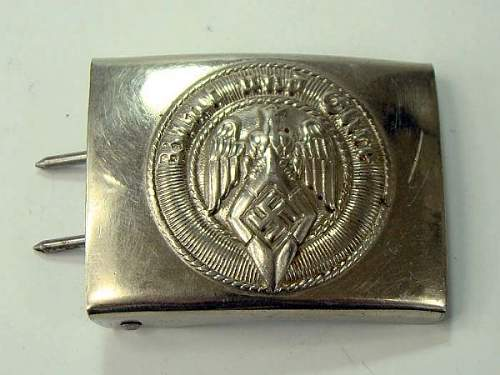 Early Nickeled Hitler Jugend Buckle w/RZM Code KH 24