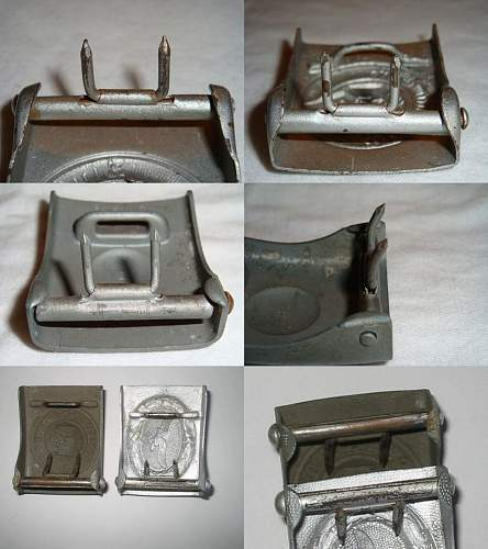 Unmarked Painted Steel HJ Buckle: Opinions on Origins & Maker