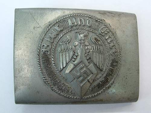 Click image for larger version.  Name:Die-stamped zinc HJ buckle by  M4 118 Werner Redo,  Saarlautern Front.jpg Views:120 Size:125.8 KB ID:433606