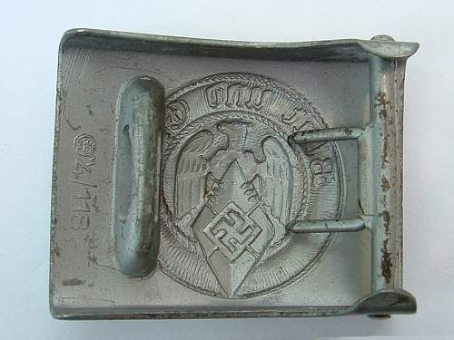 Click image for larger version.  Name:Die-stamped zinc HJ buckle by  M4 118 Werner Redo,  Saarlautern Rear.jpg Views:94 Size:118.6 KB ID:433608
