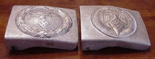 Early  nickelsilver HJ buckle with pebbled reverse