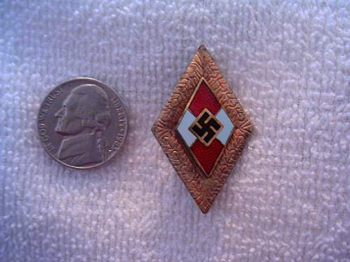 WWII German HJ Youth Leaders Gold Member Badge