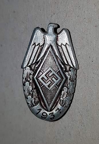 Hitler Jugend Siegernadel 1937