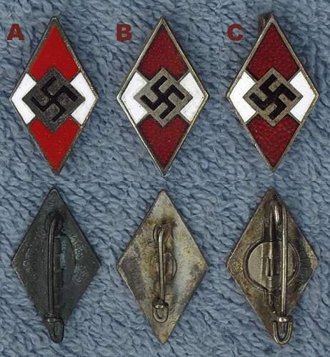 Click image for larger version.  Name:Hitler Jugend Membership Badges.jpg Views:754 Size:85.2 KB ID:241599