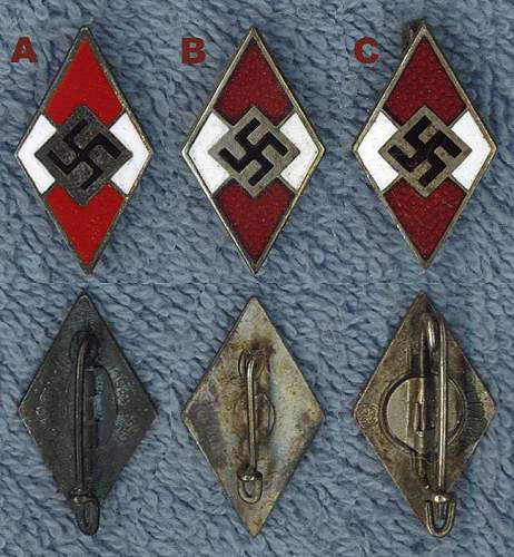 Click image for larger version.  Name:Hitler Jugend Membership Badges.jpg Views:580 Size:85.2 KB ID:241599