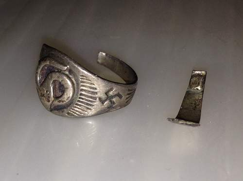just found a ring with a snake and swastika on it????