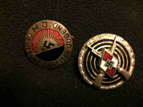 Early HJ member badge and HJ expert shooting badge